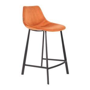 Barkruk Oranje Fluweel van Dutchbone