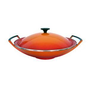 Wokpan Oranje Gietijzer van Le Creuset