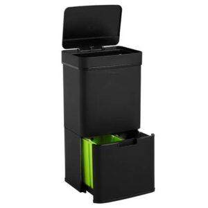 Duo afvalbak Zwart RVS van Homra